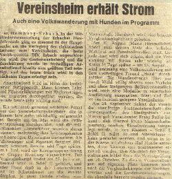 Zeitungsartikel: Vereinsheim erhält Strom